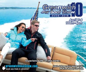 Greenwich Boat Show has 10th annual in water boat show in Greenwich Connecticut on Mianus River.