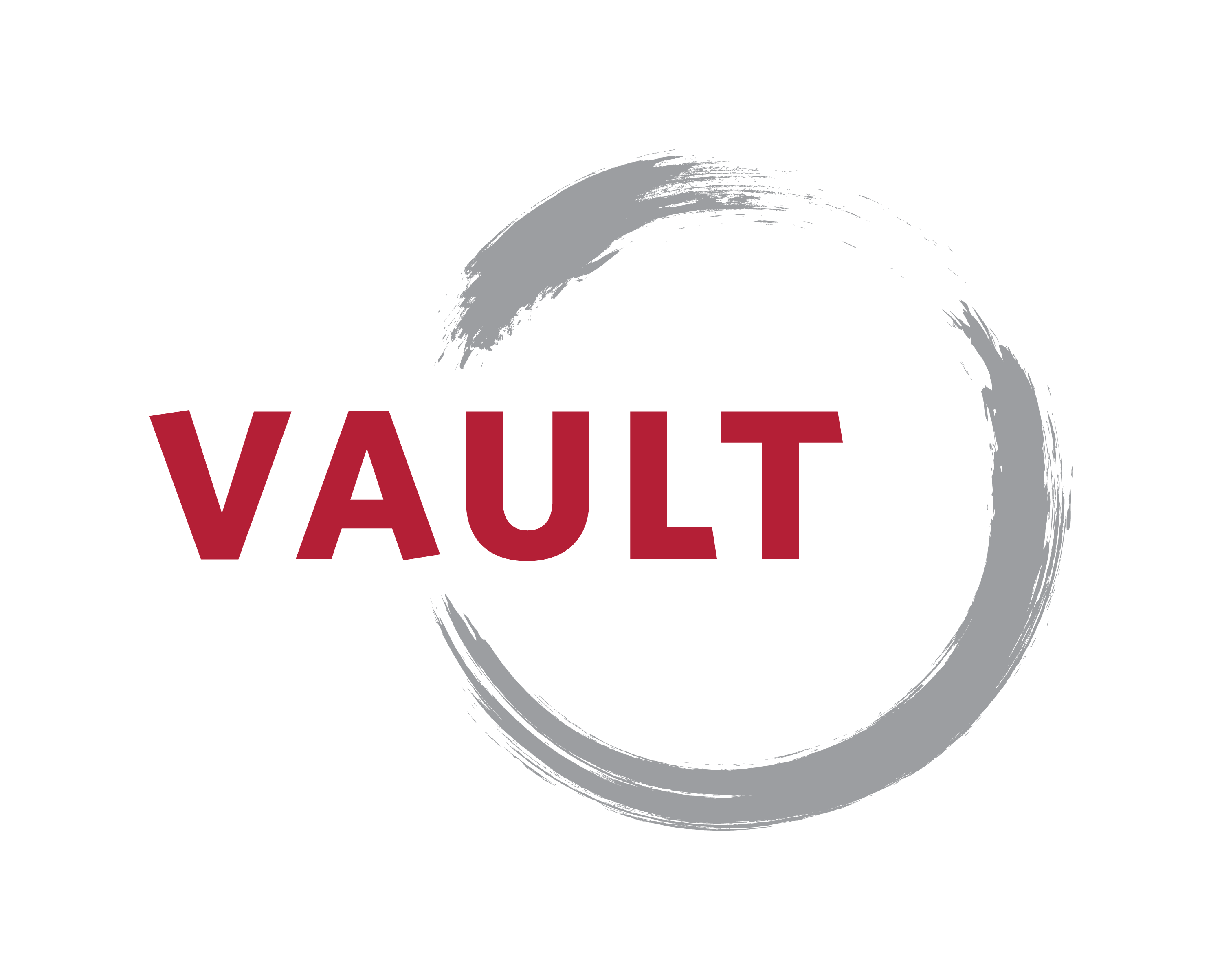 Vault Insurance Logo with red capital letters and a gray circle
