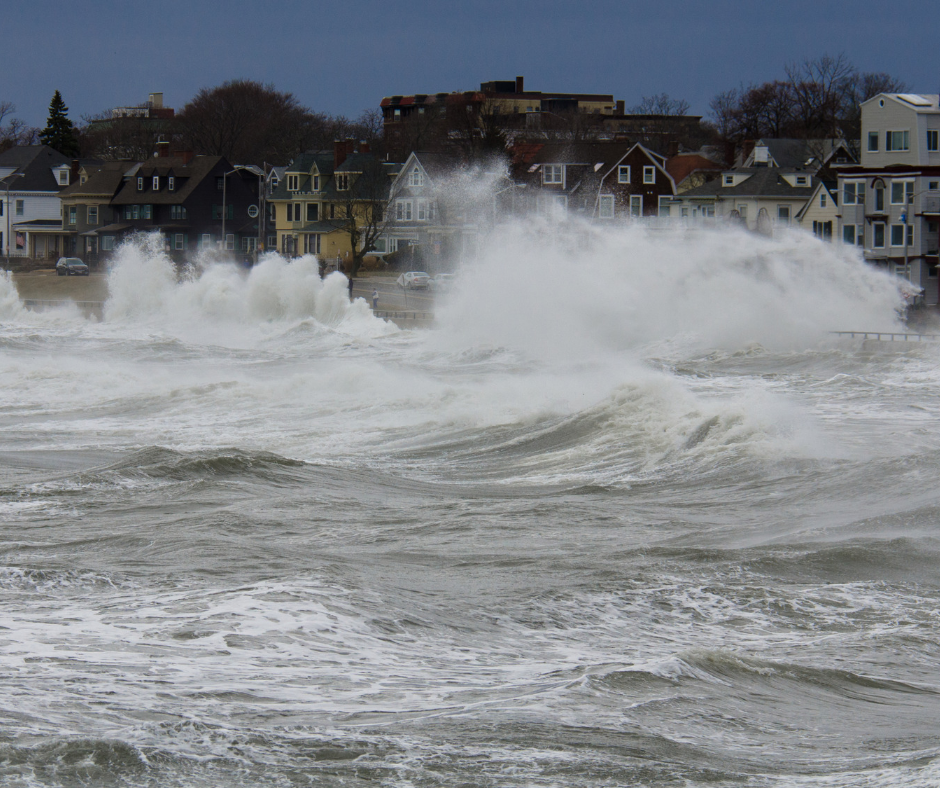 High tide flooding coastal town and beach houses in Greenwich CT.